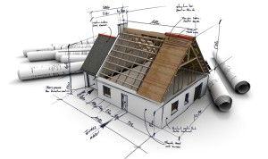 3D rendering of an architecture model, with rolled up blueprints and handwritten notes and measurements